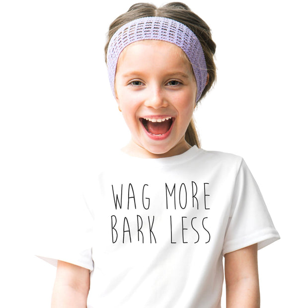 Wag More Bark Less Youth Tee White Woofingtons