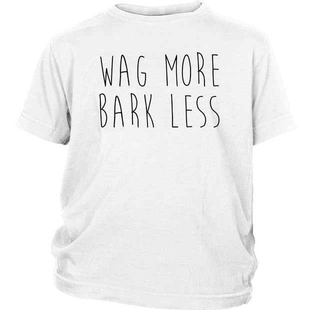 Wag More Bark Less Kids Tee-White-Woofingtons