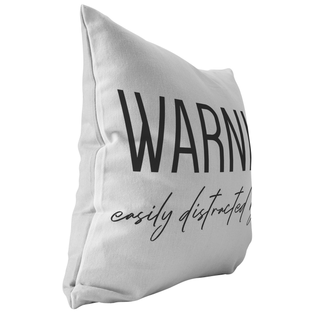Warning: Easily Distracted By Dogs Throw Pillow-Stuffed & Sewn-Woofingtons