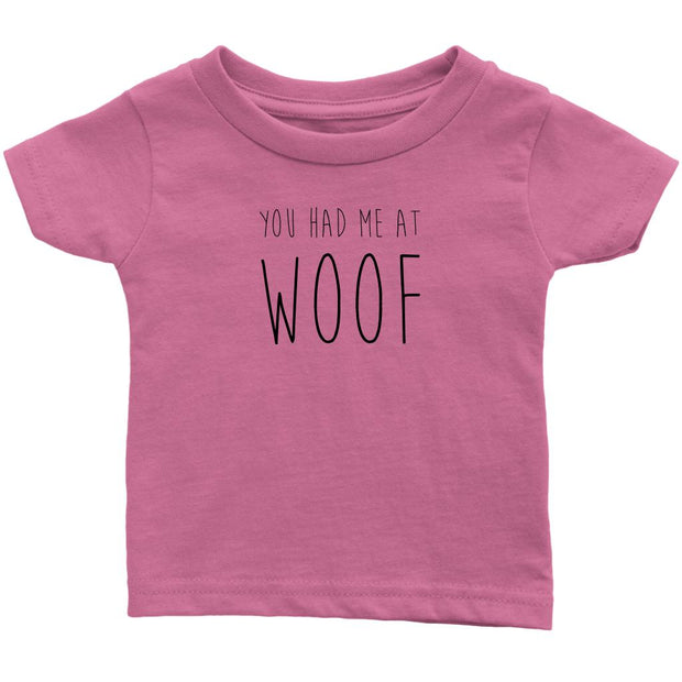 You Had Me At Woof Baby Tee-Pink-Woofingtons