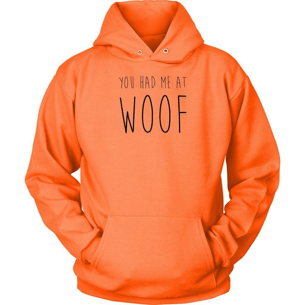 You Had Me At Woof Unisex Hoodie-Neon Orange-Woofingtons