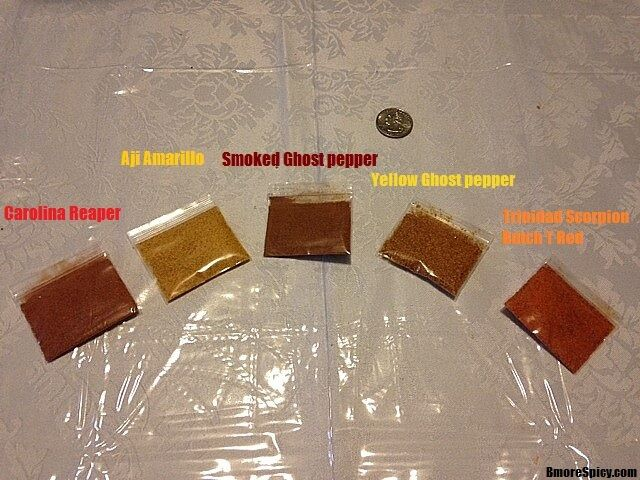 2.3 Grams Powder: Carolina Reaper Butch T Aji Amarillo Ghost Pepper Red & Yellow