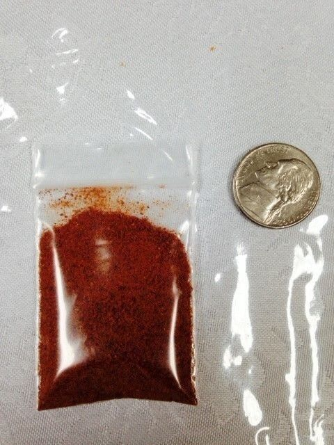 2.3 Grams: Red smoked & Yellow Ghost pepper & Carolina Reaper chile HOT Powder