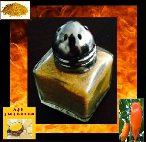 Aji Amarillo salt shaker .5 ounce Yellow powder Hot Spicy Peru Medium Heat chili