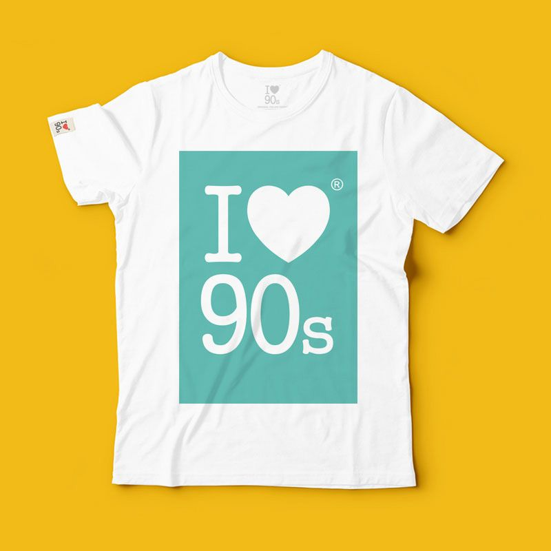 T shirt 90s Colors _ Aqua Green