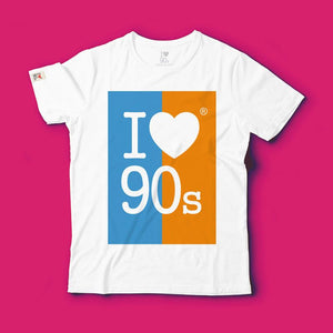 T shirt 90s Colors _ Turquoise / Orange
