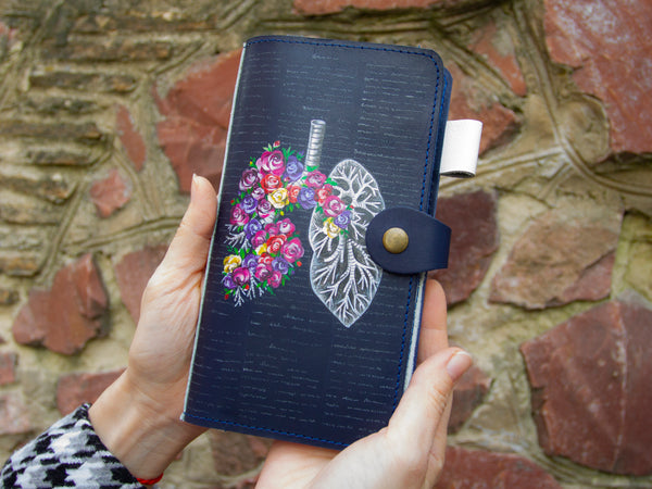 Lungs Hand Painted Leather Journal Cover Front View Hands
