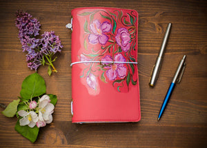 Hand Painted Pink Flower Cute Project Planner Ecoleather Standard Size  Travelers Notebook Daily Planner Journal Fauxdori