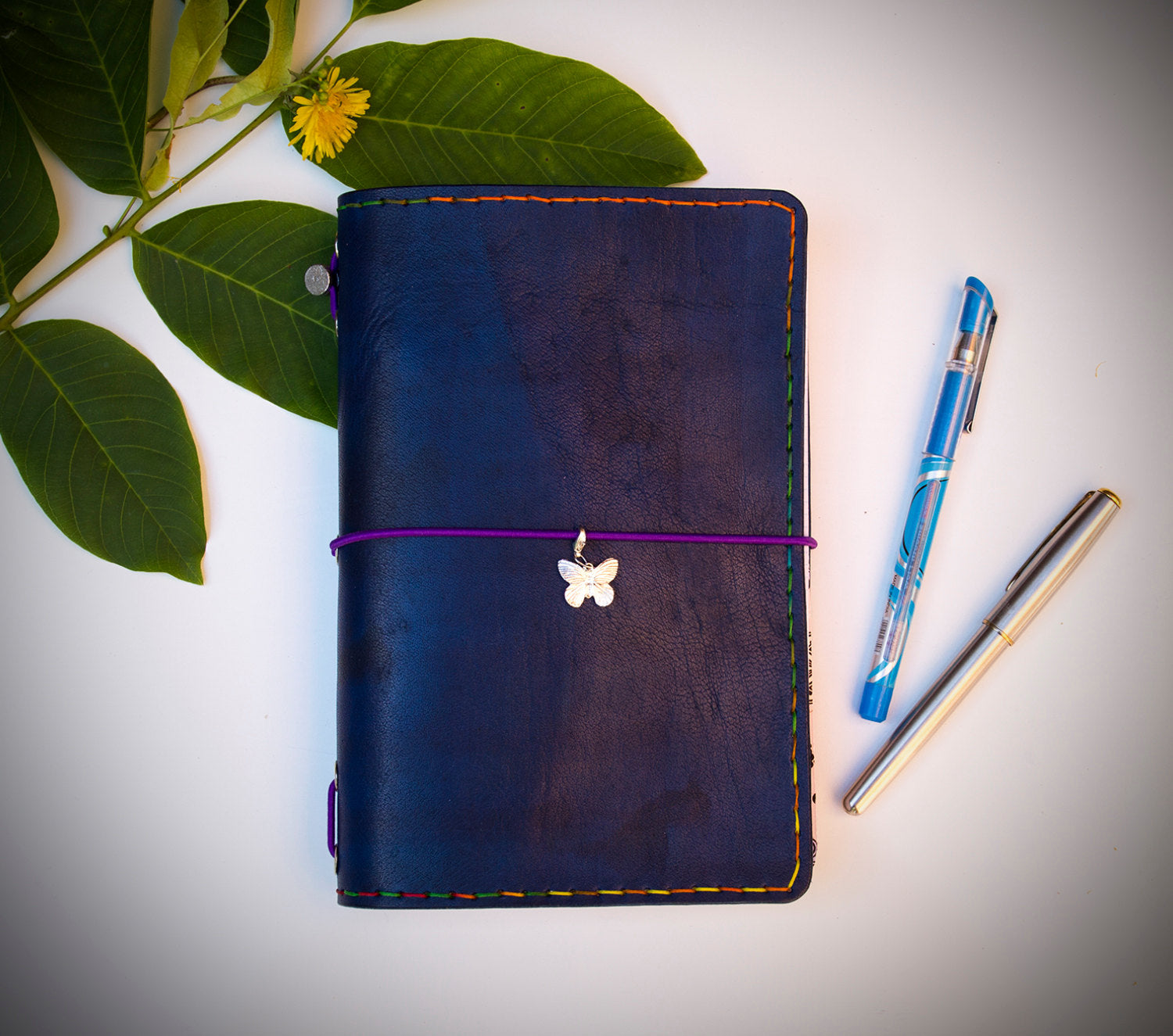 Blue Travelers Grids and Lines Color Natural Leather Travelers Notebook Wide Size with Three Inserts Exclusive Design