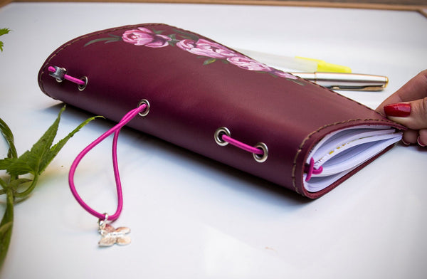 Pink Roses on Purple Leather Hand Painted by Artist Leather Journal