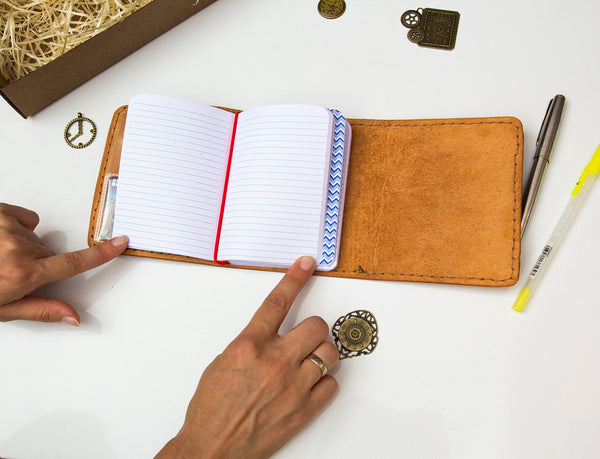 Trifold Passport Size Leather Notebook
