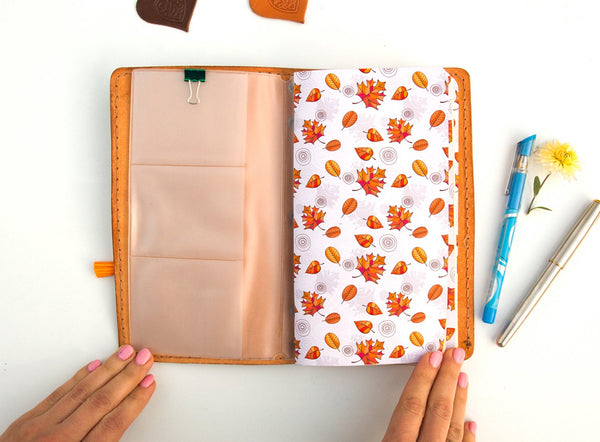Personalized Leather Travellers Notebook  Journal Hand Painted Little Fox Natural Leather Standard Size Notebook 3 Inserts 192 Pages