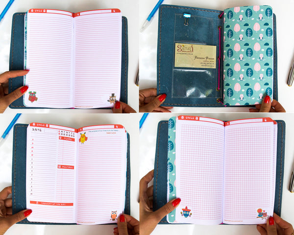 Leather Journal Travelers Notebook Owls Planner Gift Standard Size Fauxdori with Three Inserts  Refills Owls Design 192 Pages