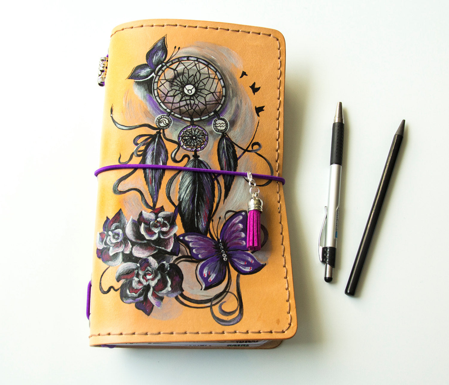 Personalized Dreamcatcher Hand Painted Travellers Notebook Leather Journal Standard Size Notebook Plus 3 Inserts 192 Pages