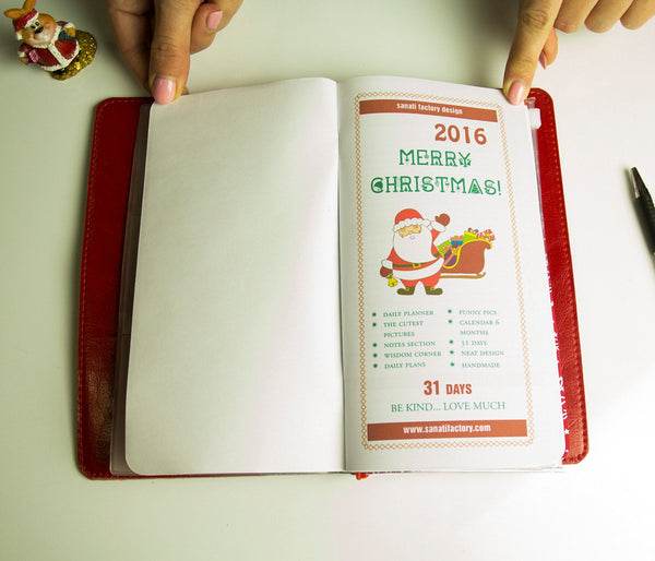 Christmas Gift Notebook Thematic Planner Present New Year  Travelers Notebook with Three Inserts Original Design Ecoleather