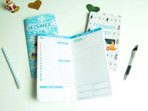 Winter Planner 2018 Set of Three Notepads 64 Pages Each Winter Dec 2017 Jan Feb 2018  Travelers Refills Inserts Planner Journal Fauxdori