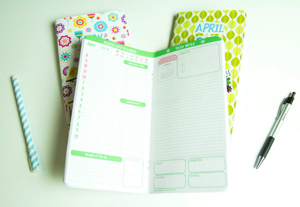 Spring Planner 2018 Set of Three Notepads 64 Pages Each March April May 2018 Travelers Refills Inserts Planner Journal Fauxdori