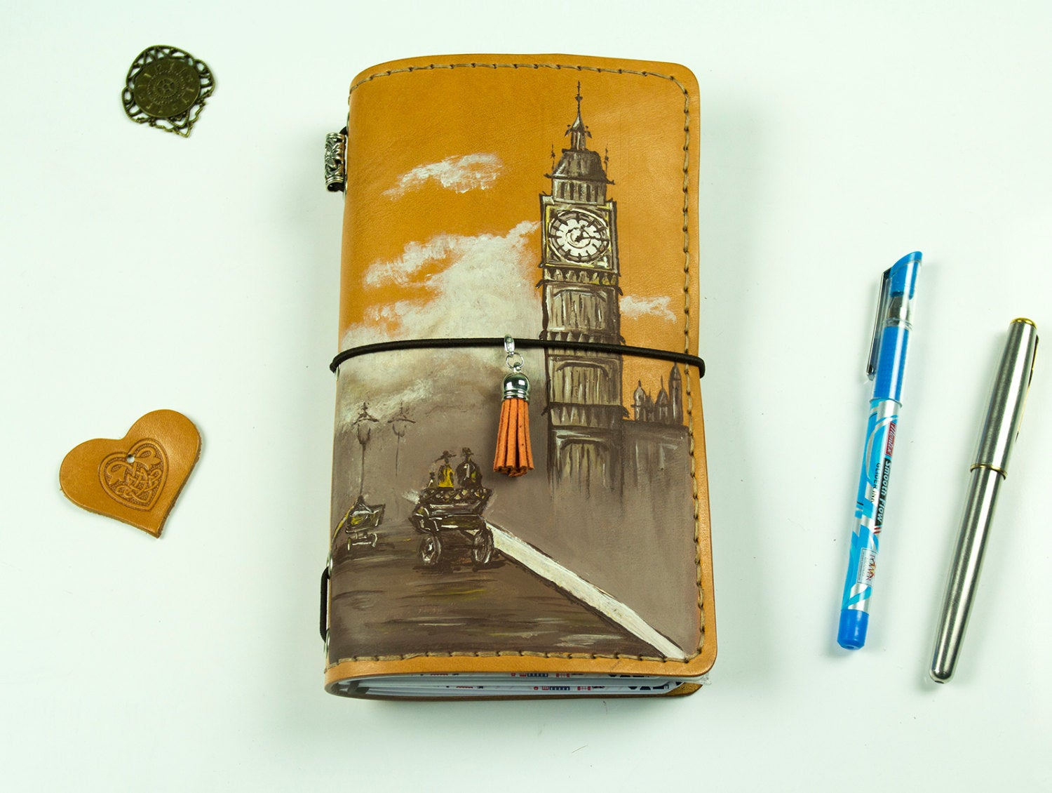 Classic London Hand Painted Leather Journal