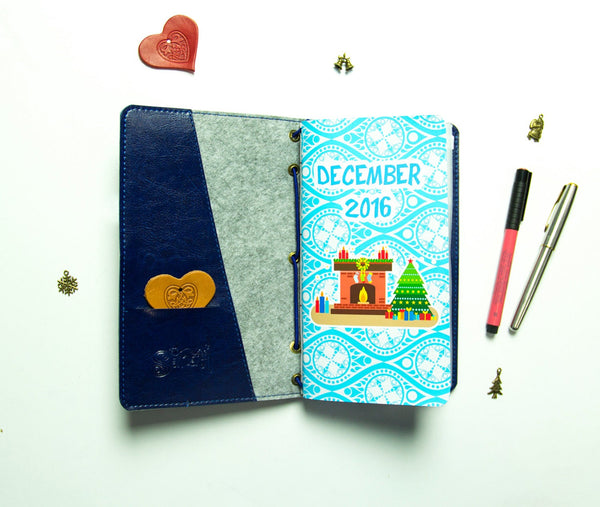 Christmas Gift Travellers Notebook Winter 2020 Notebook for Dec Jan Feb  Planner New Year Faux Leather with Zipper Folder and Inserts