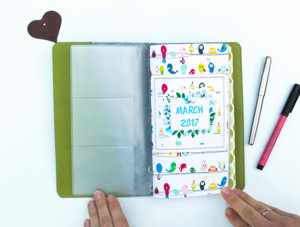 Travelers Notebook Spring Calendar 2020 Notebook March April May Planner Faux Leather Journal Regular Size with PVC Zipper Pouch and Inserts