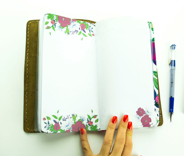 Customized Travellers Notebook Leather Journal Flowers  Hand Painted Natural Leather Standard Size Notebook 3 Inserts 192 Pages
