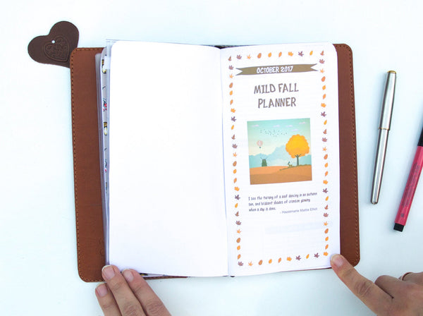 Travellers Notebook Fall Autumn 2018 Notebook September October November Planner Faux Leather with PVC Zipper Pouch and Inserts