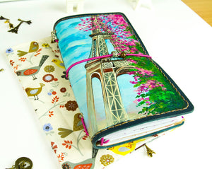 Custom Paris Hand Painted by Artist Leather Standard Size Travelers Notebook Daily Planner Hand Stitched Back to School