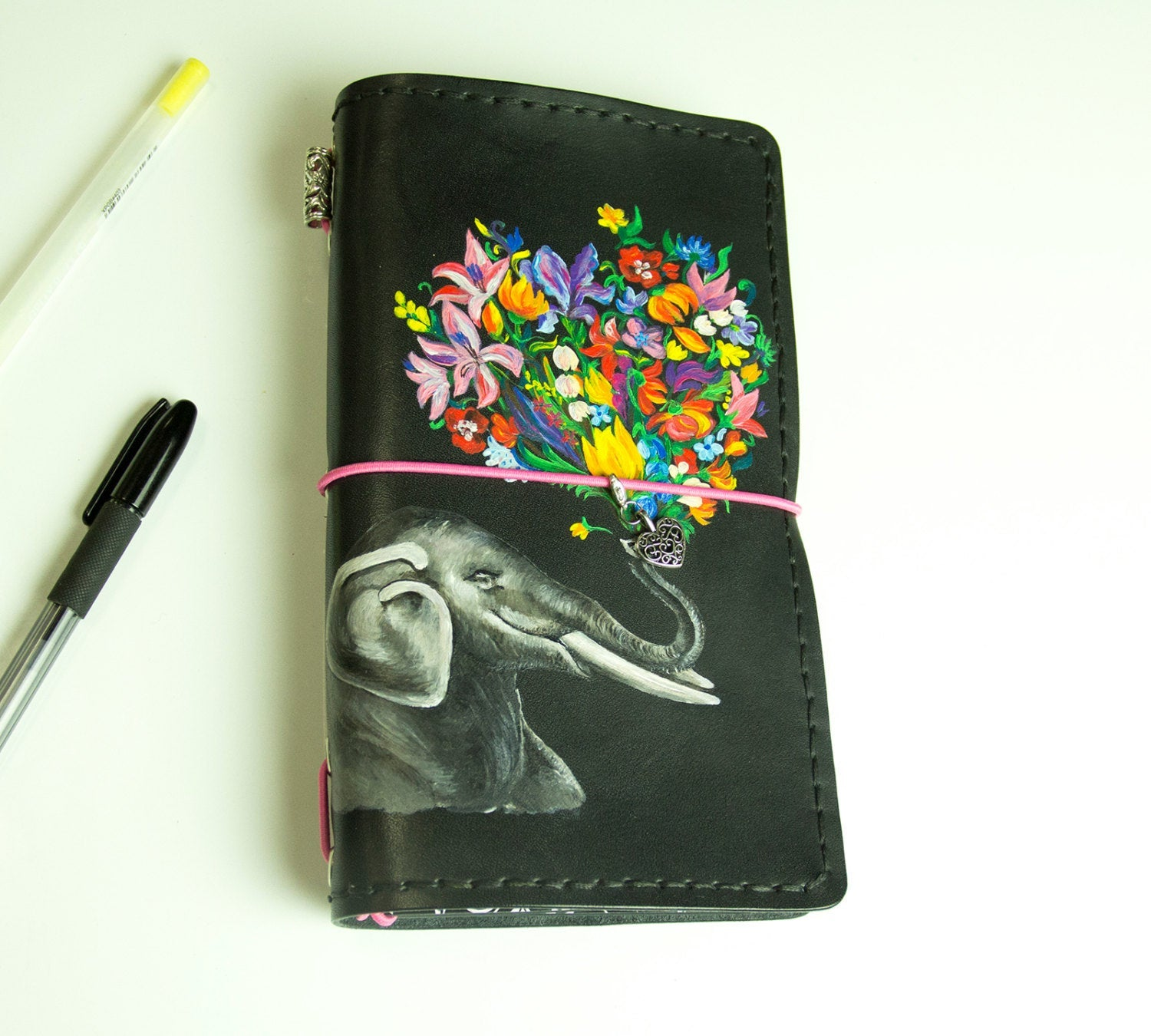 Flowers Elephant Travellers Notebook Custom Leather Journal Hand Painted Natural Leather Standard Size Notebook 3 Inserts 192 Pages