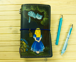 Alice in Wonderland Hand Painted Leather Journal