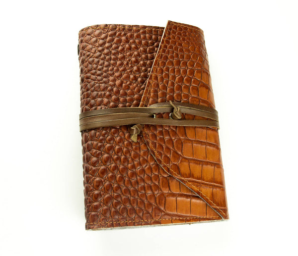 Crocodile Leather Journal  Travelers Notebook Brown with Card Holders and Triple Pen Loops