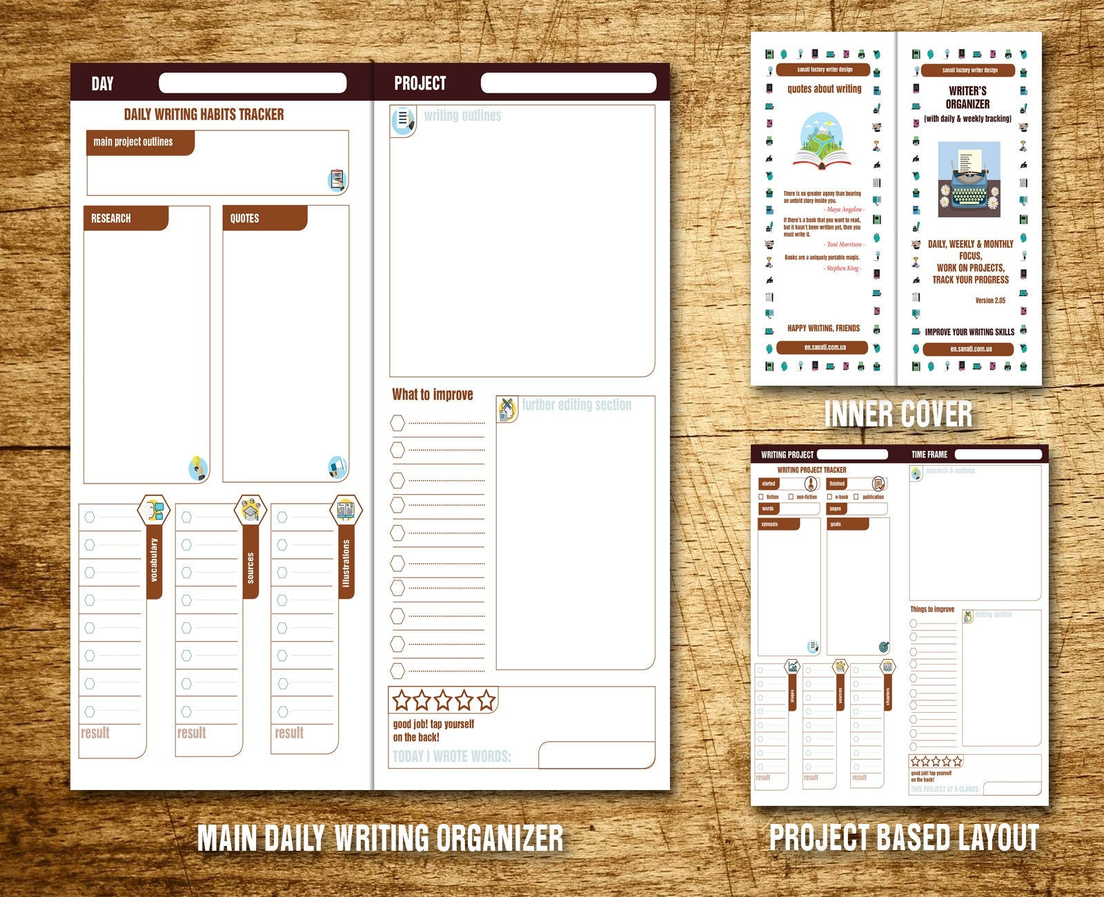Writing Organizer PDF - Writing Tracker - Writing Planner - Writing Journal - Habit Tracket- Instant Download Regular Size  TN Bundle