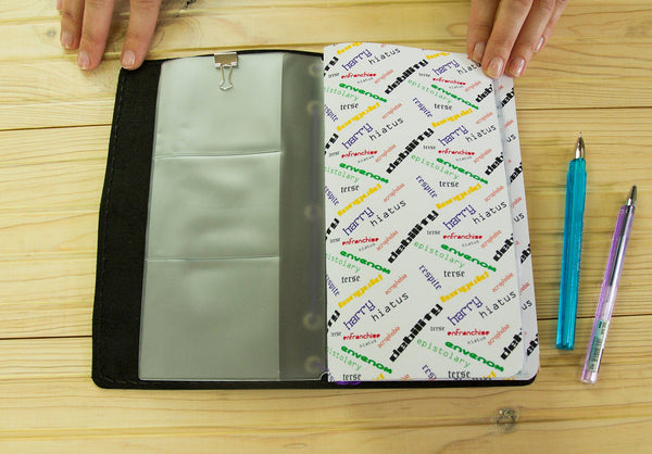 English Vocabulary Journal - Flash Cards - Leather Journal -  Travelers Notebook - ESL Notebook - Regular Size - PVC Zipper Pouch