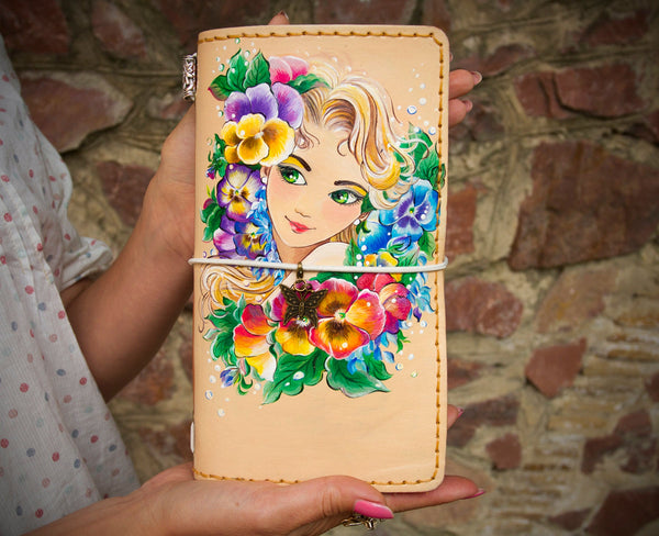 Travelers Notebook Women - Leather Journal for Girls Customized Personalized Journal - Flower Planner Hand Painted Regular Size TN