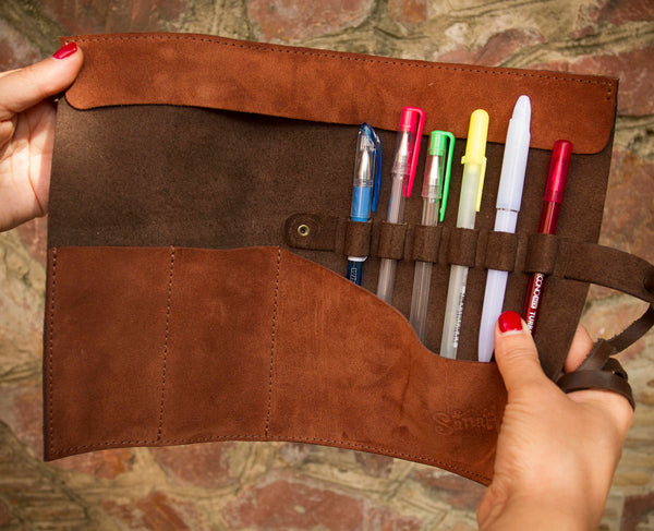 Leather Pencil Case - Brown Brush Roll - Leather Brush Holder - Pen Organizer -  Leather Makeup Roll - Leather Brush Roll - Gift for Artist