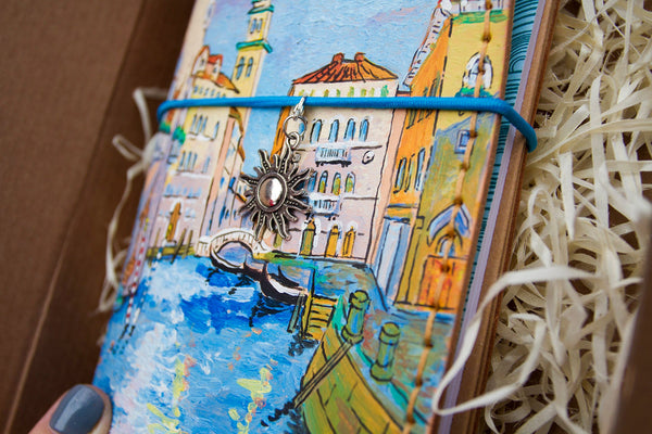 City Travelers Notebook - Venice Journal - Travel Gift - Venice Hand Painted Notebook Leather Journal Italian Gift Hand Painted