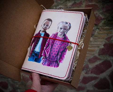 Custom Painting Your Children Family Hand Painted Leather Journal