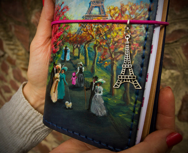 Paris Journal Travelers Notebook Leather Journal Custom Hand Painted Paris Planner Natural Standard Size Notebook 3 Inserts 192 Pages
