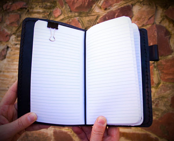 Black Personal Size Travelers Leather Notebook with Three Inserts Grids Lines or Blanks 192 pages