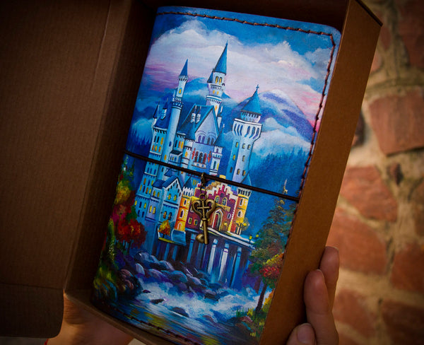 Neuschwanstein Castle Travelers Notebook Custom Travel to Germany Discovery Gift Journal Hand Painted Leather Journal