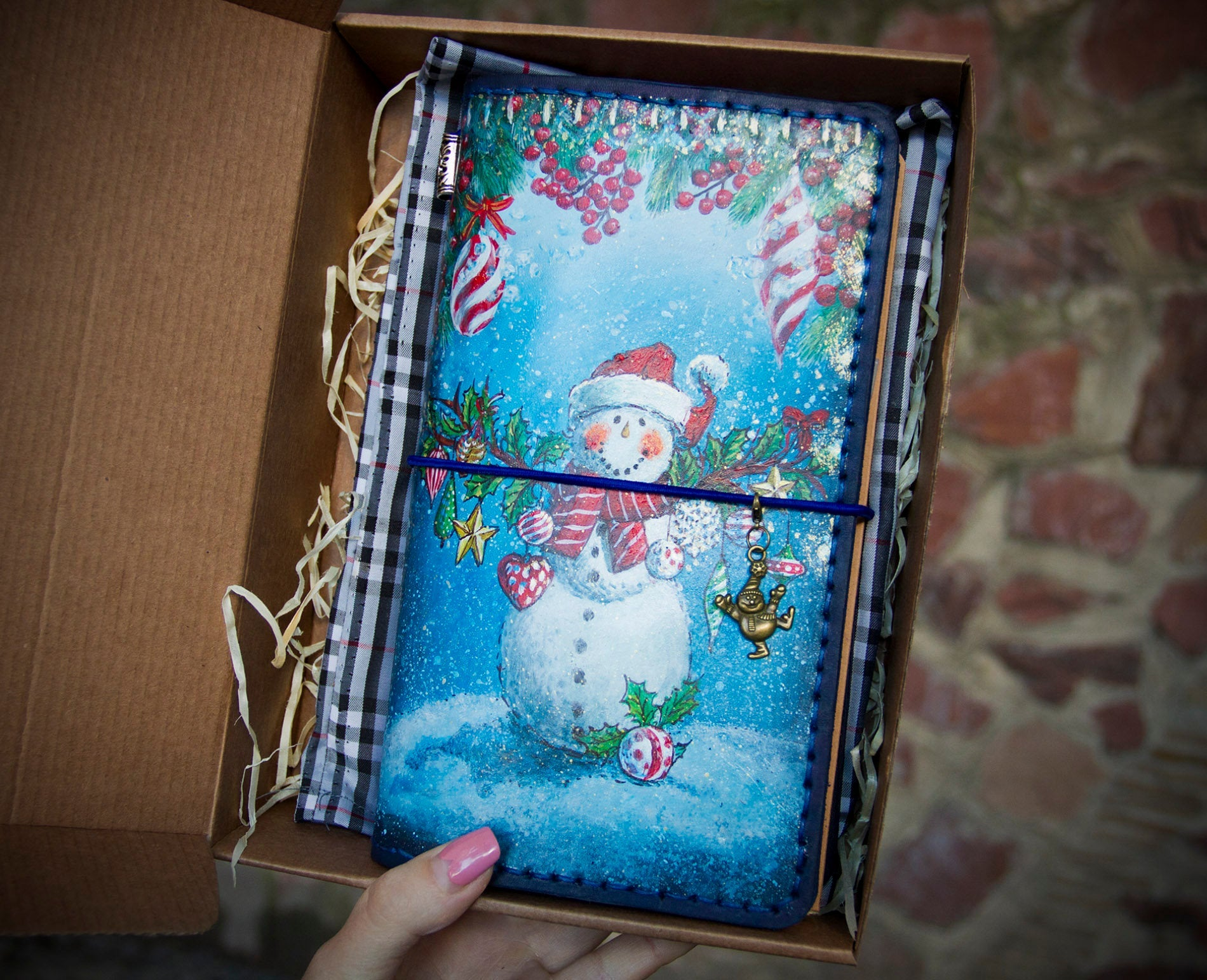 Snowman Leather Travelers Notebook Get Your Hand Painted Christmas Gift Now