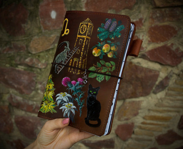 Capricorn Zodiac Hand Painted Leather Journal