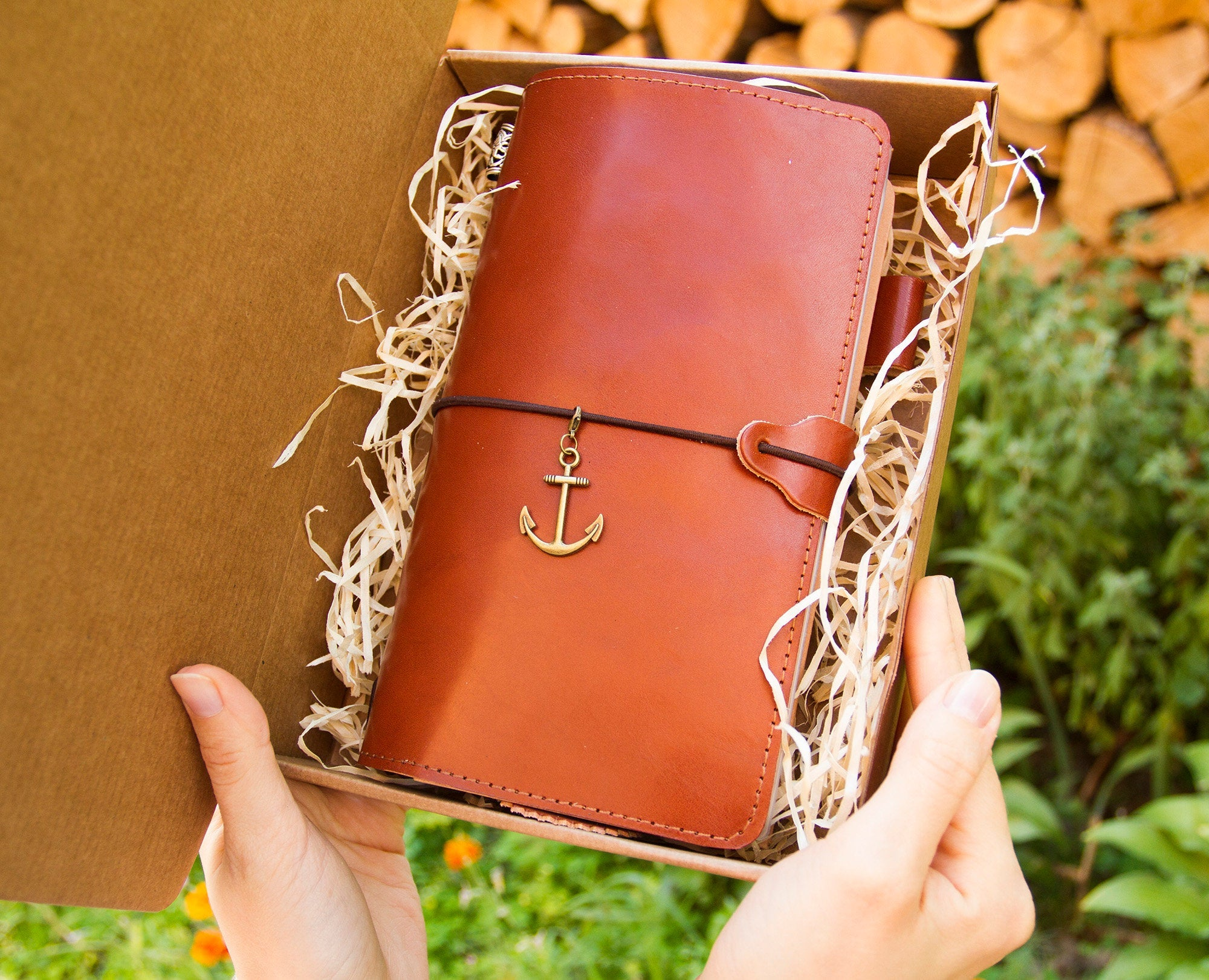 Travelers Notebook Regular Cognac Leather Anchor Travelers Leather Notebook with Original Inserts Planner