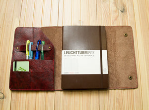 Customized Journal Cover A5 Soft Leather Portfolio Cover for Your Diary Sketchbook Book with Slots for Cards Pens