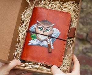 Travelers Notebook A6 Size Leather Journa Personalizedl Hand Painted by Artist Fully Customizable Wise Owl Reading a Book