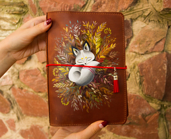 Sleeping Fox Hand Painted Journal