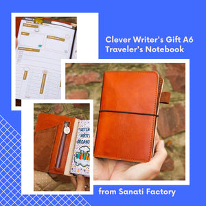 Personalized Leather Journal Writing Diary Cognac Brown Travelers Notebook A6 Size with Zipper Leather Pockets and Three Inserts