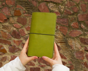 Green Travelers Notebook Reffilable Journal Ecoleather Daily Organizer