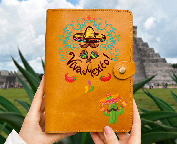 Personalized Mexico Cinco de Mayo Travelers Gift Engraved Leather Journal Organizer Leather Sketchbook Ochre