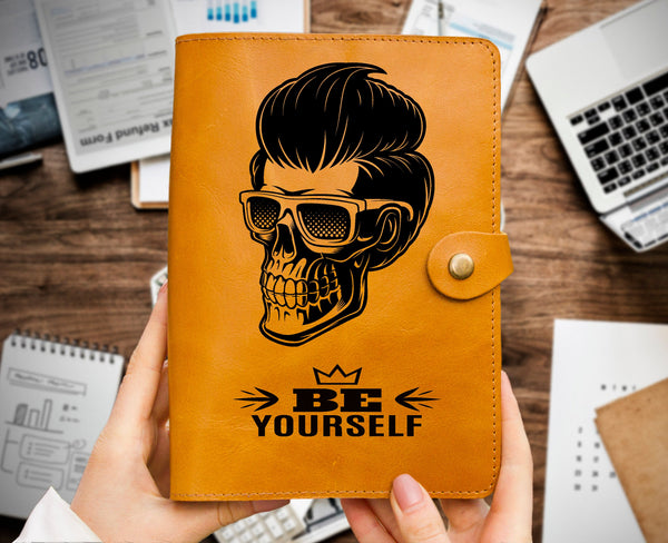 Personalized Skull Be Yourself Gift for Him Engraved Leather Journal Organizer Leather Sketchbook Ochre