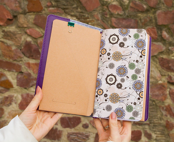 Personalized Travelers Notebook Mandala Faux Leather Purple Travelers Leather Notebook with Inserts Planner